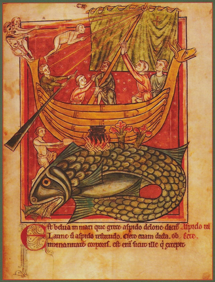 Sailors cast off from an 'island' that is actually a whale. From England, perhaps Salisbury, the 2nd quarter of the 13th century. MS Harley 4751 f. 69